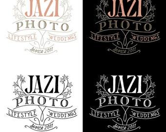 Hand drawn photography logo design - customized, hand illustrated photographer logo