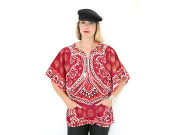 VIntage Dashiki Shirt Bell Sleeve Red Angel Sleeve Ethnic Boho Hippie Top