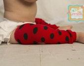 DIY Girl's Ladybug Leg Warmers-Red with Black Polka Dot Leggies-Ladybug Birthday Cake Smash-Photo Props