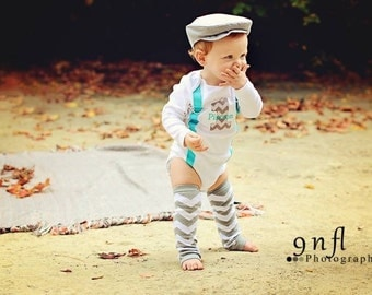 BOYS FIRST BIRTHDAY Outfit-Boys Birthday Bodysuit with Gray Chevron 1, aqua suspenders with gray and optional white chevron crawlers