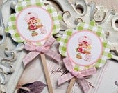Strawberry Shortcake Cupcake Toppers (10) Strawberry Party-Strawberry Birthday-Strawberry Shower-Strawberry Topper-Strawberry Cupcake Pick