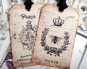 Assorted Vintage French Gift Tags (6) Paris Gift Tags-Crown Gift Tags-Bee Gift Tags-Vintage Style Tag-Shabby Gift Tag-French Label-Bird Tags