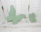 Butterfly Wall Decor 2 Pc Set Painted Pistachio Green Butterflies On SALE