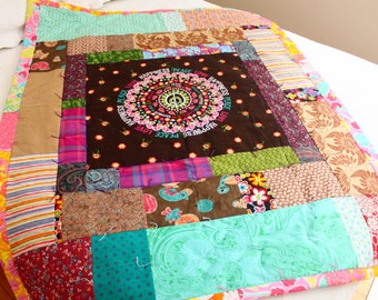 Peace Love Happiness Hippie Quilt Lap Quilt Throw with vintage 60s and 70s fabric