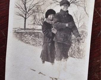 Original Antique Photograph Tom & Sara Enjoy Snowy Winter Day