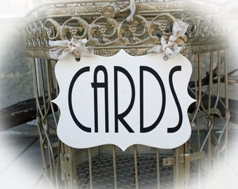 Cards Sign- Art Deco font for Cards birdcage or Cards wedding box.- Choice of seambinding color