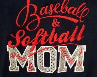 Baseball & Softball Mom T-Shirt - Bling Sparkle Baseball Applique - Personalized Embroidered - Custom Team Shirt