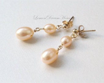 Freshwater Pearl Earrings, Peach Rice Freshwater Pearls, Top-drilled Pearls, Gold-filled Wire and Post Earrings. June Birthstone. E206b.