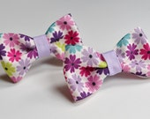 Flower ribbon bow pigtail holders