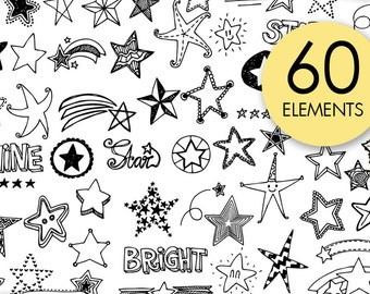 Stars Doodle Clip Art, PNG, Shine, Bright, Star, Hand Drawn, Downloadable images, Invitation, Logo, Card, Tattoo, Stamps, Stickers, Design
