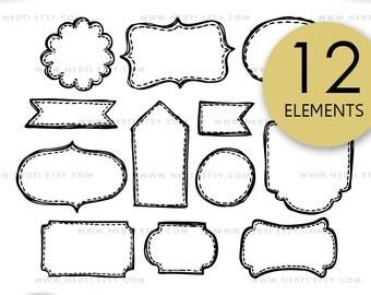 Tags & Labels Doodle Clip Art, Label Tag Clipart, Digital Images, PNG, 300dpi, Stitched, Sketched, Hand drawn, Design kit, Instant Download