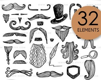 Gentleman Doodle Clip Art, Mustache, Hat, Beard, Pipe Clipart, 64 PNG, Black, White, Instant Download, Party Kit, Birthday, Invitation, Logo