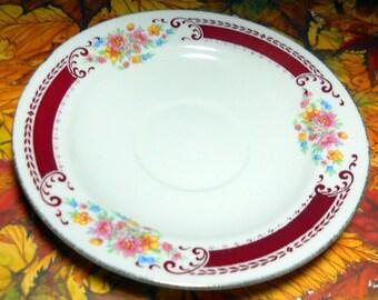 Homer Laughlin Brittany, Vintage Saucer, Cream Cranberry Floral Saucer, Housewares, Tea Cup Plate, Floral Design, Kathleen Leasure