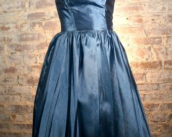 ON SALE 1950s Two Tone Blue Silk Strapless Dress
