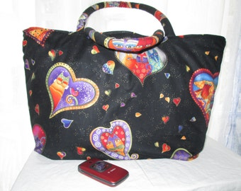 Tote Bag Laurel Burch Cats Hearts Purse Market Bag Shopping Vegan Shoulder Bag Knitting Craft Book Bag w/ pockets & reversible Quilted
