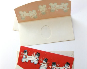 Money Cards by Hawthorne Sommerfield with Envelopes Snowman Embossed 1930s 1940s Red Black White Blue Card Vintage