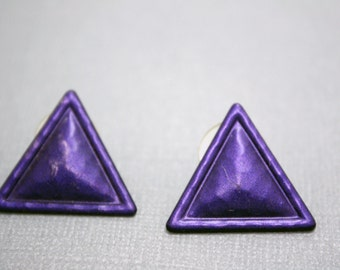 Vintage Triangle Earrings in Purple - Hammered Texture Matte Finish Studs