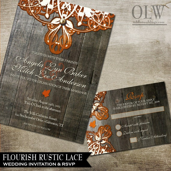 Fall Wedding Invitations Doily Lace Wedding Invitation And