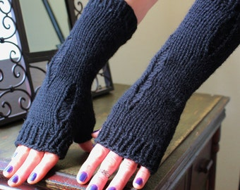 Knit Fingerless Gloves/Arm Warmers, Bulky, Dystopian Style, in Black