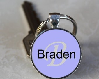 Braden Name Monogram Handcrafted Glass Dome Keychain (GDNKC0351)