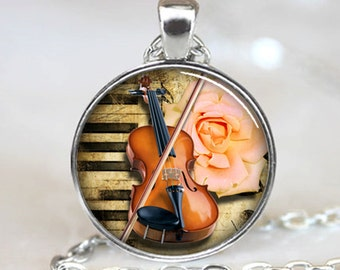 Violin Pendant, Musical Instrument Necklace, Music Lovers Jewelry, Silver (PD0531)