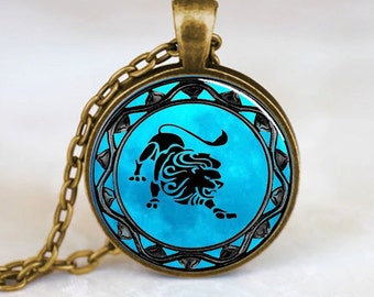 Leo Pendant , Leo Zodiac Pendant , Leo zodiac Necklace , Bronze (PD0318)