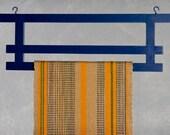 Hand Carved Wood Torii Textile Hanger Navy Blue