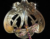 Sterling Silver Sugar Sifter Spoon Necklace with purple rhinestones Butterfly/Dragonfly Lower Price