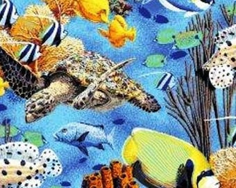 Animal under water sea ocean coral reef print - cotton - fabric - BT Panel - wild - new - blue - turtle - quilt - sew
