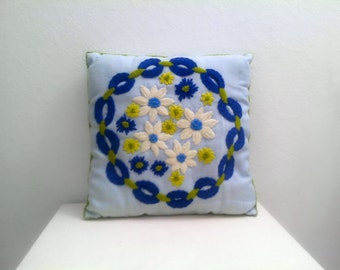 Vintage Decorative Pillow 1960's - Embroidered - Floral - Blue