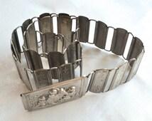 Vintage Antique Belt Silver Metal Belt Victorian Cherubs Belt Nurses Belt Silver Relief Belt Silver Buckle Small Waist