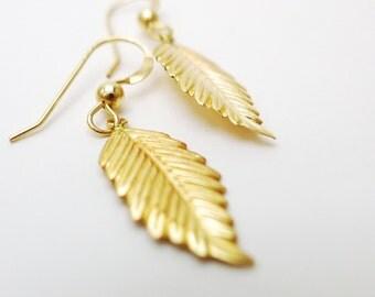 Leaves Earrings in Gold Flled