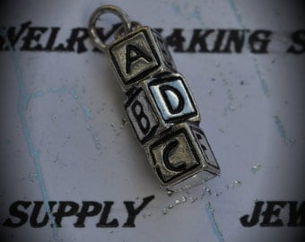 ABC Cubes Sterling Silver Plated Charm