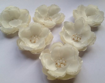 Bridal flower headpiece, Handmade fabric flower, Ivory flower pin, Bridesmaid hair accessories, Christening hair flower,Flower girl hair pin