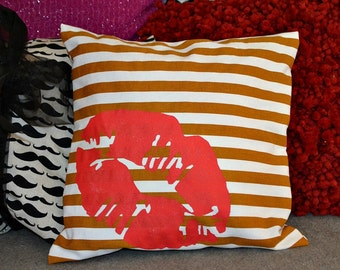 "Painted ""Sealed with a Kiss""  Pillow …Hand  Screened on Cotton Canvas"