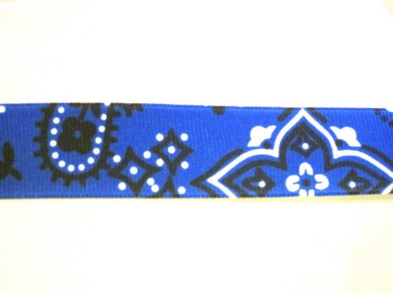 7/8 Blue Bandana Western Grosgrain Ribbon 1yd.