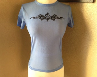 90s Tribal logo top / retro / see through / sheer top / cute blue top urban luxe// club kid