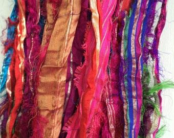 10 yds Recycled Sari Silk Ribbon Yarn Eyelash Metallic Zari Fair Trade Gift Wrap Ribbon Felt Crochet Knit Scrapbook Tassels Fiber Art Supply