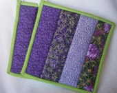 Beautiful Shades of Purple with a Pocket on the Back Quilted Potholders - Set of 2