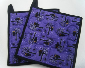 Quilted Purple Halloween Tree with Owl Potholders - Set of 2