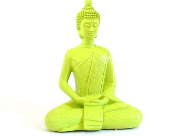 neon buddha statue,  lime green, funky statues, buddha art, buddha figurines, home decor