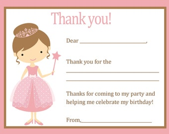 Thank You Card - Pink Princess Theme - Digital file - You print