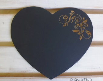 Engraved CHALKBOARD PHOTO PROP Heart Chalk Board for Rustic Wedding Decor or Engagement or Wedding Photobooth Props