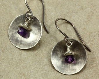 Hammered Silver and Amethyst Earrings, Drop Earrings, Sterling Silver, Amethyst Earrings, Hammered Silver Earrings, Hammered Earrings