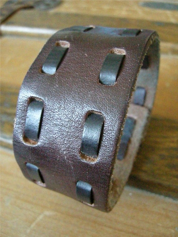 Mens Brown Leather Cuff Lacing Tough Bracelet with Snap BRN-191-1