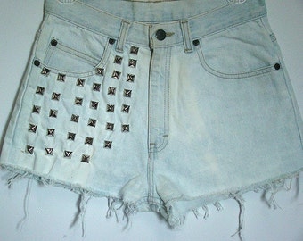 Heavily Studded Light Wash High Waisted Shorts