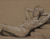 "Life Drawing Figure Study Female nude Pen & Ink 4 1/2 X6 1/2"" Double Matted 8X10"" No.162"