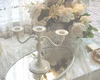 Vintage Candelabra Painted Romantic  Shabby Chic