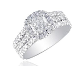EGL Cushion & Round Cut Diamond 2.55 Ct 18k White Gold Wedding Anniversary Ring