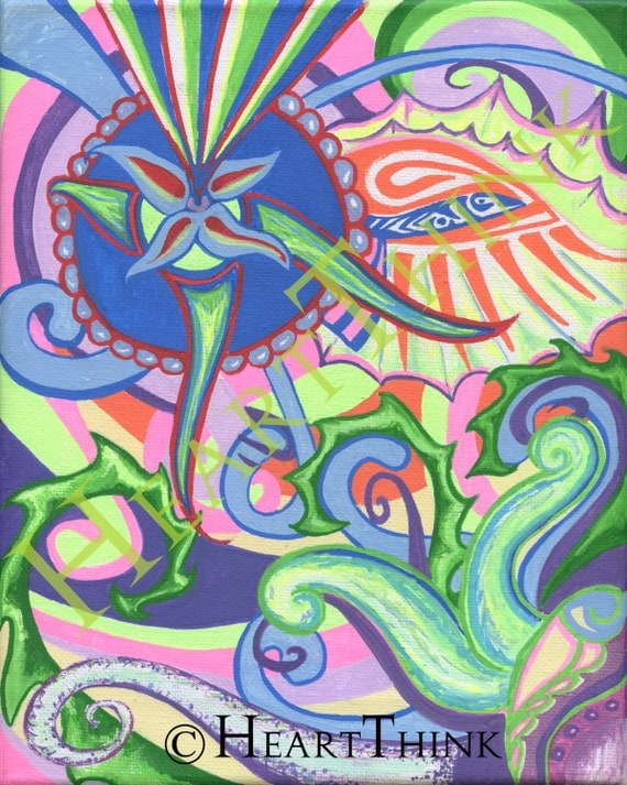 Items similar to Psychedelic Colorful Tribal Original Art ...